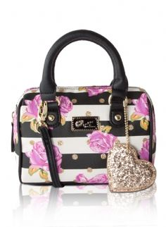 "Luv Betsey By Betsey Johnson Harlie Mini Crossbody Barrel Bag - Fuchsia Gold - Carry everything you need in style, This Luv Betsey Harlie Mini Barrel Satchel Crossbody Bag Features; PVC floral stripe exterior with glitter detail and logo plate, top zip closure, duel rolled handles 3"" drop, hanging signature keychain, fully lined Interior, enough space to fit your cell phone, wallet , keys and couple small items. This bag will become your ""go-to"" bag for running errands. Detachable cross-body…"