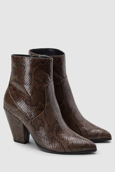 b680a4ea5653 Womens Next Snake Effect Feature Heel Western Ankle Boots - Animal