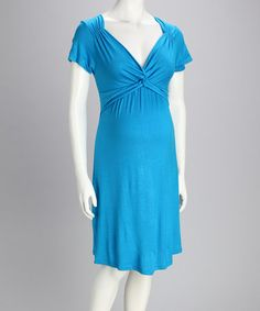 Another great find on #zulily! Turquoise Maternity Knot-Front Dress #zulilyfinds