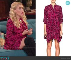 Robert Rodriguez Leopard-Print Silk Tie-Waist Dress worn by Busy Philipps on Busy Tonight Busy Philipps, Trendy Outfits, Fashion Outfits, Pink Leopard Print, Tie Neck Blouse, Robert Rodriguez Clothing, Office Fashion, Silk Ties, Cougar Town