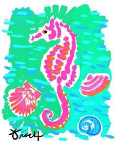 Calypso Pink Seahorse Artwork: Beach Decor, Coastal Decor, Nautical Decor, Tropical Decor, Luxury Beach Cottage Decor