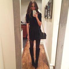 """Headed to TAO downtown tonight | Black mini skirt, black turtleneck, black knee high boots. #snmirrormoment"" Photo taken by @somethingnavy on Instagram, pinned via the InstaPin iOS App! http://www.instapinapp.com (01/25/2015)"