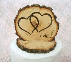 Rustic Wedding Cake Topper Intertwined Hearts I by SweetHomeWoods, $22.00