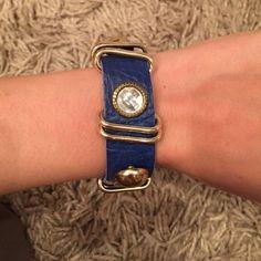 Fashion cobalt blue bracelet Never worn. Suede underneath stones and links Boutique Accessories