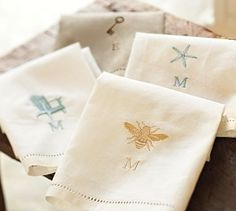 Linen Hemstitch Guest Towels, Set Of 2  $19.00 Free Shipping Catalog/Internet Only Monogramming Available