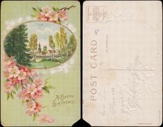 Birthday Greetings Apple Blossoms and Daisies Around A Village Scene Embossed | eBay