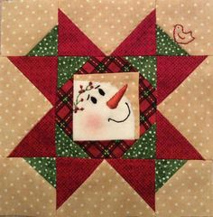 Quilt Block with Appliqued Snowman - Made by Sandra Edmunds Gregoire Christmas Blocks, Christmas Quilt Patterns, Christmas Sewing, Quilt Block Patterns, Quilt Blocks, Christmas Crafts, Christmas Quilting, Small Quilts, Mini Quilts