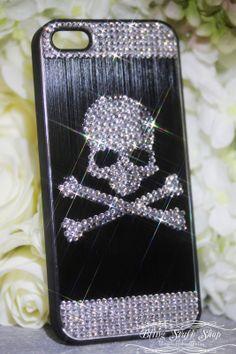Swarovski crystal Skull BLACK Brushed Aluminium by blingstuffshop, $28.00