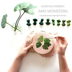 May Monstera Contemporary Embroidery PDF by Sarah K. Benning - #SKBDIY Monthly Pattern Program Single Month Instant Download from SarahKBenning on Etsy Studio