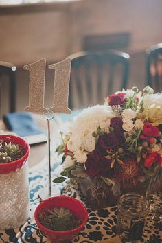 sparkly gold table numbers