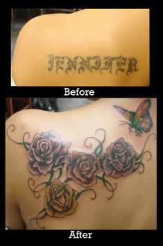 Before and After Tattoo | Cover Up Tattoo From the Name Tattoo to a Red and Black Rose and Butterfly Shoulder Tattoo #redandblack #rose #butterfly #tattoo