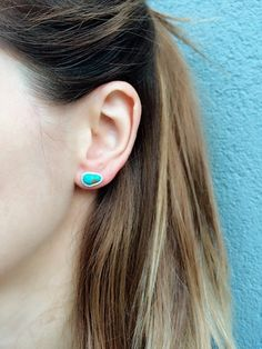 Sterling Silver Raw Turquoise Earrings -Turquoise Studs-Silver Post - Gemstone Studs-Bohemian Jewelry-December Birthstone