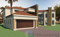 A 3 bedroom modern Tuscan home design is for sale by Nethouseplans. This double storey 3 bedroom house plan with photos is amazing. 6 Bedroom House Plans, 4 Bedroom House Designs, House Floor Plans, Double Storey House Plans, Built In Braai, House Plans South Africa, African House, House Plans With Photos, Tuscan House