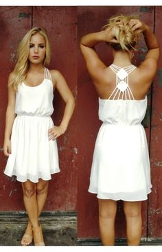 Lovely thin strap white chiffon dress