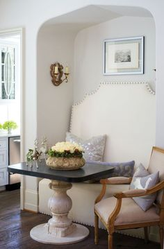 Tall backed banquette with interesting shape