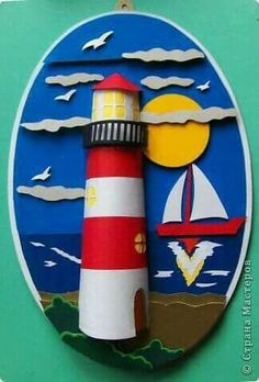 Could make this with a paper towel roll and strips of red and white . Could make this with a paper towel roll and strips of red and white construction paper. Add a small red Paper Crafts For Kids, Projects For Kids, Diy For Kids, Art Projects, Sea Crafts, Diy And Crafts, Arts And Crafts, Summer Crafts, Summer Art