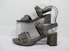 ALBERTO FERMANI Ankle Strap Sandals W/ Heel and Buckles in Gray SzEU36/US6 #AlbertoFermani #AnkleStrap