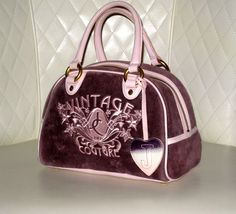 """I'm auctioning 'Juicy Couture """"Vintage"""" Purple Velour Dome Satchel ' on #tophatter"""