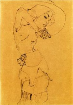 Standing Nude with Large Hat (Gertrude Schiele) - Egon Schiele