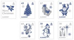 Alderney Christmas stamps feature some of the images commonly associated with Christmas.