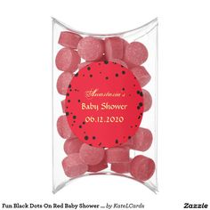 Fun Black Dots On Red Baby Shower Party Favors Chewing Gum