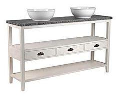 Mueble de baño con sumideros en madera de caoba y DM - blanco roto y gris