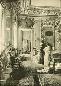 Amazing interior view:  Very BELLE EPOQUE!  Les Createurs de La Mode 1910 - 7 - Salon de Vente - Cheruit by CharmaineZoe, via Flickr