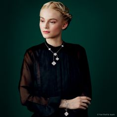 """Van Cleef & Arpels new """"Jewelry and Watches"""" catalog. Magic Alhambra necklace and bracelet, white gold and diamonds. Magic Alhambra Between the Finger Ring, white gold and diamonds."""