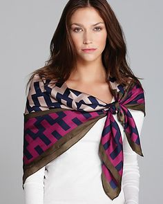 Jonathan Adler Stepped Chevron Hex Square Silk Scarf  in Hot Purple/Navy | Bloomingdale's