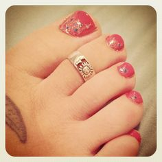At home pedicure sparkly fun I did today