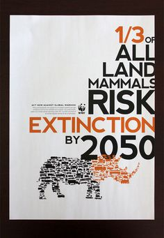 Climate Change Poster - something for humans to think about, after all we ARE land mammals Racing Extinction, Animal Species, Endangered Species, Wwf Poster, Typographic Poster, Environmental Science, Environmental Protection Poster, Environmental Posters, Wildlife Conservation