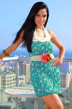 #1015store.com #fashion #style rosette belted floral mini dress-$15.00