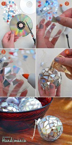 Cómo hacer adornos de navidad con CDs reciclados (bolas para árbol de navidad)