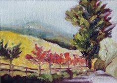 """© Debbi Smith Rourke """"Vineyard Road"""" 5x7"""" SOLD. But can easily enlarge and paint another. This was painted from a photo I took entering Benzinger Vineyards. :)"""