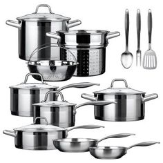 Duxtop Professional 17 piece Stainless Steel Induction Cookware Set, Impact-bonded Technology Includes 8 and fry pans; sauce pans with lids; casserole with lid; stock pot with lid; sauté pan with helper and lid; boiler basket and steamer basket; Induction Stove, Induction Cookware, Hot Pot, Gotham, Kitchen Cookware Sets, Kitchen Appliances, Kitchen Cabinets, Pots And Pans Sets, Walmart