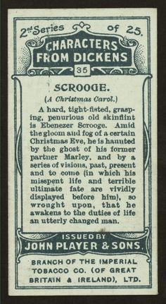 A Christmas Carol - characters from Dickens cigarette cards - Scrooge (back of card)