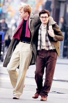 Dane DeHaan and Daniel Radcliffe on the set of Kill Your Darlings
