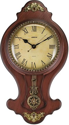 Elegant Wall Swinging Pendulum Clock Faux Wood