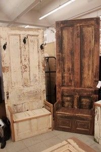 Repurposed Doors - I don't like how rustic they are, but I like the idea of a seat to put on shoes, and hooks to hang jackets, etc.