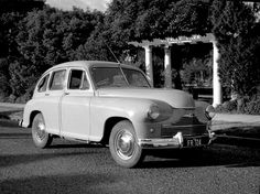 Vanguard car with Citroen radio at Weekley Park, Stanmore. Max Dupain photo, c 1950.
