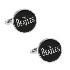 The Beatles Cufflinks finished in a glossy black finish and silver rhodium plate Free Black, Black Enamel, The Beatles, Cufflinks, Plate, Range, Club, Lettering, Music