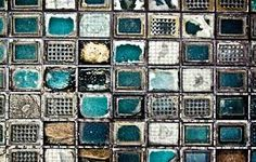 Incredible shades of aqua and jade in the mosaic based artwork