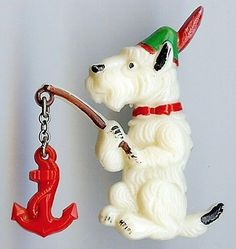 Celluloid Czech Brooch Scotty Dog
