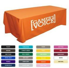 """Starting at $89. Price decreases with higher quantity orders. #Tradeshow Tablecloth - Flat table cover fits table sizes 30"""" x 72"""" x 29"""". Our table covers are made with a 65/35 poly/cotton twill material available in 23 bright and fun colors. Finished with a rolled edge so the table throw won't fray. Square corners give the tablecloths a finished look. Tablecloths are ideal for presentations, retail stores, trade shows, conventions and more.  -Brought to you by Swag On Demand"""
