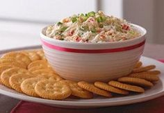 Craving something salty?? --- Crab & Cream Cheese Dip -- Serving Size: 2 tbsp spread and 5 crackers per serving--Calories 110