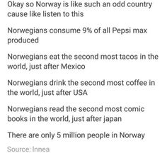I am SO moving to Norway. It's beautiful, it's cold, and the people appreciate knitwear, coffee, and tacos.