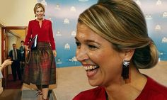 Queen Maxima wears TARTAN as she attends a news conference