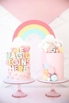 Don't miss this beautiful My Little Pony birthday party! The cakes will blow you away! See more party ideas and share yours at CatchMyParty.com