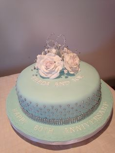 Diamond wedding anniversary cake, duck egg blue