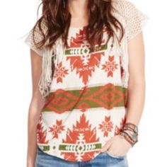Ralph Lauren Denim Supply Aztec print T with finge Really cute top with woven sleeves and fringe detail. Ralph Lauren Tops Tees - Long Sleeve